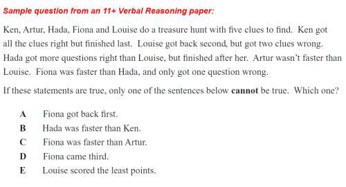 Sample Verbal Reasoning Question