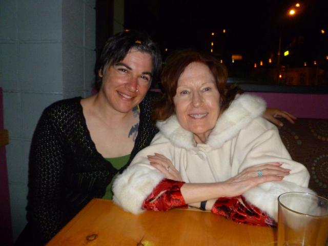 Sharon in her Eleanor of Aquitaine coat and me with a big goofy smile